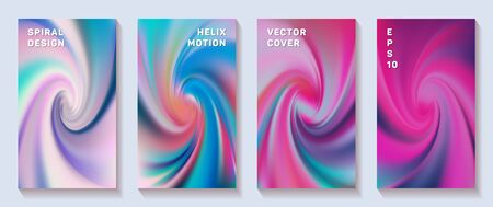 Fluid gradient spiral scroll cover page templates vector set. Fuzzy brochure front pages collection. Banner backgrounds with fluid colors spiral motion patterns. Torsion screw tech booklet covers. 写真素材 - 149402495
