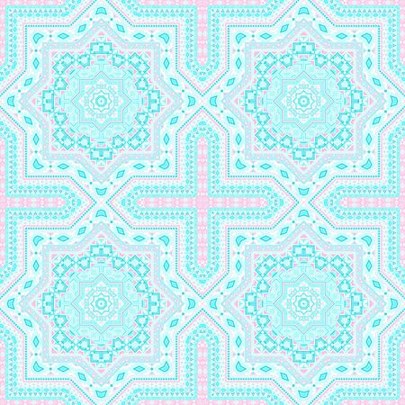 Retro moroccan zellige tile seamless ornament. Ethnic structure vector motif. Coverlet print design. Classic moroccan zellige tilework repeating pattern. Floor decor graphic design.