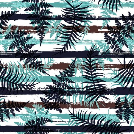 Trendy new zealand fern frond and bracken grass overlapping stripes vector seamless pattern. Caribbean forest foliage clothing fabric print. Stripes and tropical leaves illustration.
