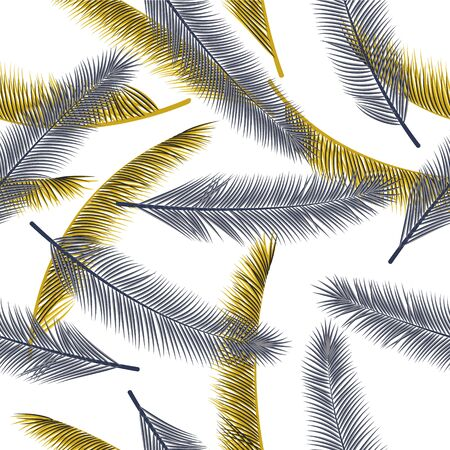 Floral feather plumage vector ornament. Cute illustration. Airy natural feather plumage wrapping paper seamless pattern.