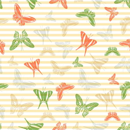 Flying modern butterfly silhouettes over horizontal stripes vector seamless pattern. Baby clothing fabric print design. Lines and butterfly garden insect silhouettes seamless design. 일러스트