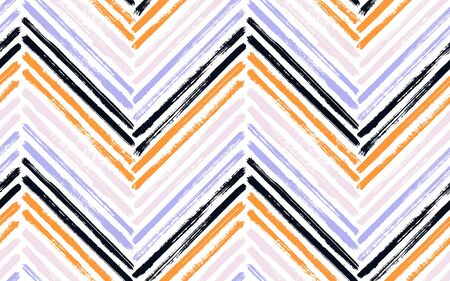 Artistic zigzag interior print vector seamless pattern. Paintbrush strokes geometric stripes. Hand drawn paint texture zig zag chevron elements. Stripes lines textile print seamless design.