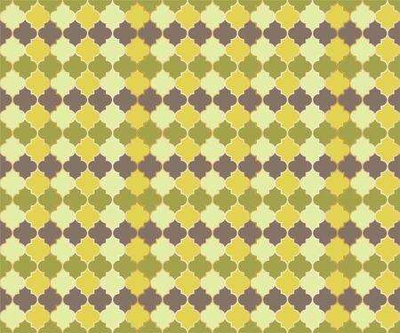 Arabian Mosque Window Vector Seamless Pattern. Ramadan mubarak muslim background. Traditional ramadan mosque vector pattern with gold grid. Cool islamic window grid design of lantern shapes tiles. 向量圖像