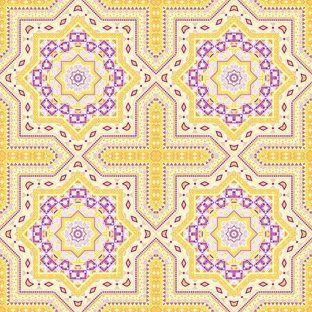 Beautiful portugese azulejo tile seamless rapport. Geometric texture vector elements. Coverlet print design. Stylish lisbon azulejo tilework seamless pattern. Floor decor graphic design.