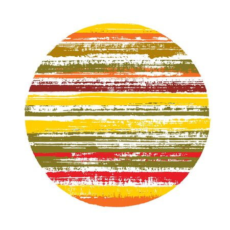 Ragged circle vector geometric shape with striped texture of ink horizontal lines. Planet concept with old paint texture. Emblem round shape logotype circle with grunge background of stripes.
