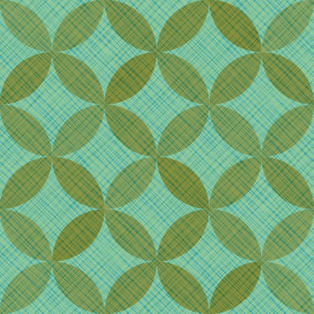 Interlacing circles parts artistic seamless vector pattern. Guatrefoil flower green tessellation endless ornament. Circle elements repeating textile print. Geometric tile motifs.