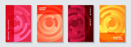 Editable notebook title pages design. Minimal banner circles spiral motion vector backdrops. Aim goal achievement circles concept. Trendy brochure front pages templates.