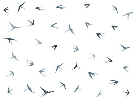Flying martlet birds silhouettes vector illustration. Migratory martlets bevy isolated on white. Swift flying swallows line art. Small birds in sky graphic design. Wildlife concept.