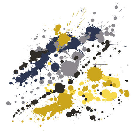 Gouache paint stains grunge background vector. Graphic ink splatter, spray blots, dirty spot elements, wall graffiti. Watercolor paint splashes pattern, smear fluid stains spots backdrop.