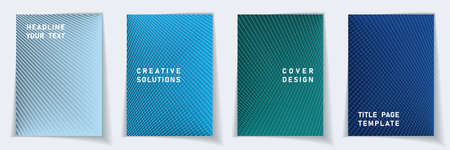 Cover page digital layout vector design set. Halftone lines grid background patterns. Brochure templates.  Scientific gradient covers graphic collectoin. Stock Illustratie