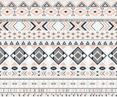 Gypsy pattern tribal ethnic motifs geometric vector background. Cool geometric shapes sprites tribal motifs clothing fabric textile print traditional design with triangles Illustration