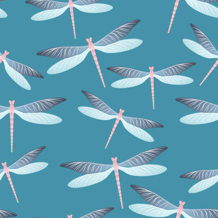 Dragonfly colorful seamless pattern. Spring clothes fabric print with flying adder insects. Isolated water dragonfly vector background. Nature breathers seamless. Damselfly butterflies. 일러스트