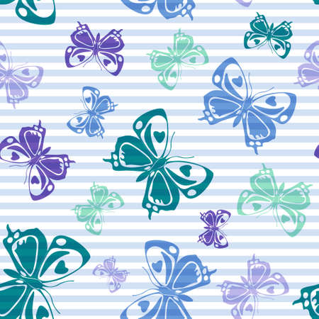 Flying elegant butterfly silhouettes over striped background vector seamless pattern. Baby clothing textile print design. Lines and butterfly winged insect silhouettes seamless wrapping. 일러스트