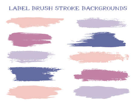 Minimal label brush stroke backgrounds, paint or ink smudges vector for tags and stamps design. Painted label backgrounds patch. Interior colors scheme elements. Ink smudges, purple blue stains, spots