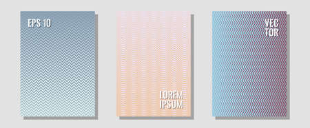 Banner graphics cool vector templates set. Business folders branding. Zigzag halftone lines wave stripes backdrops. Simple book covers. Abstract banners graphic design with lined shapes. Illustration