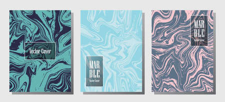 Cool marble prints, vector cover design templates. Fluid marble stone texture iInteriors fashion magazine backgrounds  Corporate journal patterns set of liquid clay waves. Flyers, banners set.