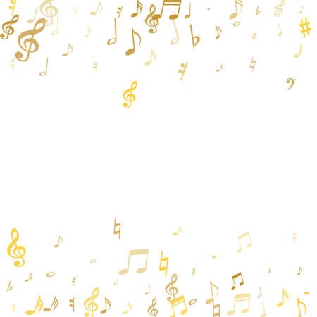 Gold flying musical notes isolated on white background. Stylish musical notation symphony signs, notes for sound and tune music. Vector symbols for melody recording, prints and back layers.