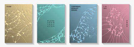 Pharmaceutical healthcare vector covers with neurons, synapses. Marble curve lines blend textures. Openwork title page vector templates. Healthcare and hygiene covers. Illustration