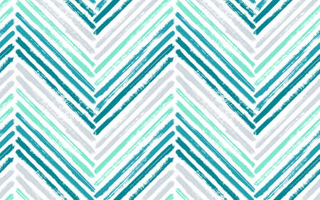 Minimal zig zag interior print vector seamless pattern. Ink brushstrokes geometric stripes. Hand drawn paint texture zig zag chevron wrapping. Stripes lines textile print seamless design.