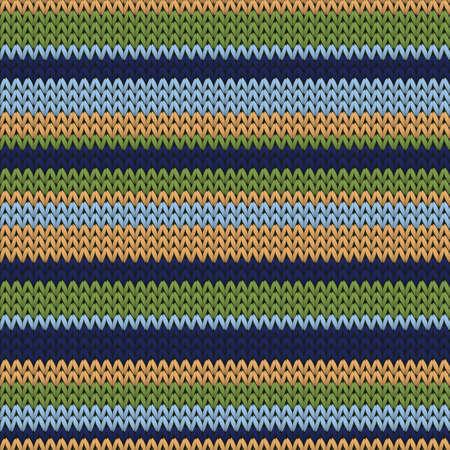 Handmade horizontal stripes christmas knit geometric seamless pattern. Jumper knitwear fabric print. Nordic style seamless knitted pattern. Handicraft backdrop.  イラスト・ベクター素材