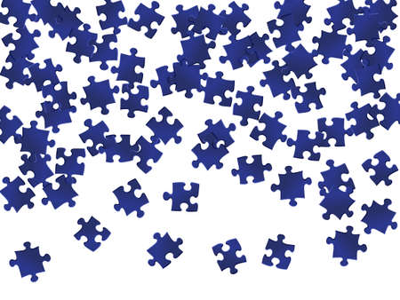 Business conundrum jigsaw puzzle dark blue parts vector illustration. Scatter of puzzle pieces isolated on white. Teamwork abstract concept. Game and play symbols. Vettoriali