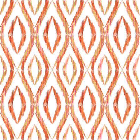 Ikat ogee seamless pattern design. Ethnic fabric print geometric ikat pattern. Cool ogee seamless repeating background. Tribal motifs ikat textile print design.
