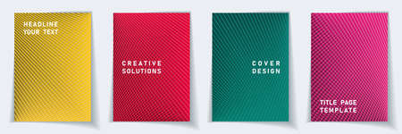 Cover page technical layout design set. Crossed lines dynamic background patterns. Poster templates.