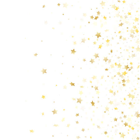 Flying gold star sparkle with white background. Festive gold gradient christmas sparkles glitter geometric star pattern. Christmas starburst magical elements.