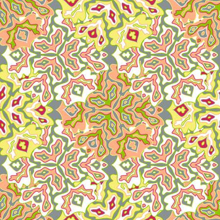 Modern floral seamless pattern in bright summer positive colors. Mandala medallion fluid leaves ornament. Organic floral seamless pattern. Psychedelic patchwork design. Indian motifs.