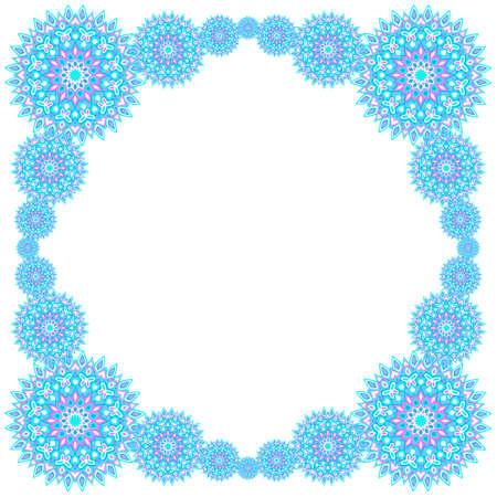 Medallion flower pattern card frame template vector design. Circle royal shapes motifs. Trendy background pattern. Archivio Fotografico - 150663576