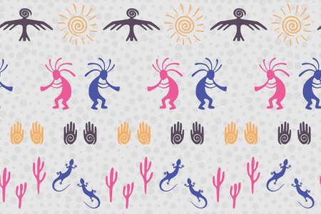 Ancient aztec or mayan american vector ethnic tribal motifs seamless pattern. Aborigine design with lizard, Kokopelli fertility deity, sun, eagle, cacti. American indian healing deity pattern.  イラスト・ベクター素材