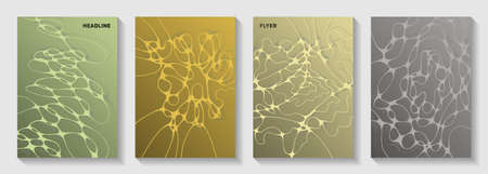 Pharmaceutical healthcare vector covers with neurons, synapses. Bent waves grid backdrops. Flat brochure vector layouts. Microbiology science covers.
