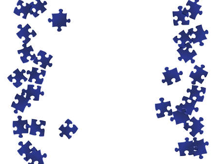 Game brainteaser jigsaw puzzle dark blue parts vector illustration. Top view of puzzle pieces isolated on white. Success abstract concept. Game and play symbols.
