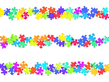 Game tickler jigsaw puzzle rainbow colors pieces vector background. Top view of puzzle pieces isolated on white. Problem solving abstract concept. Jigsaw pieces clip art.