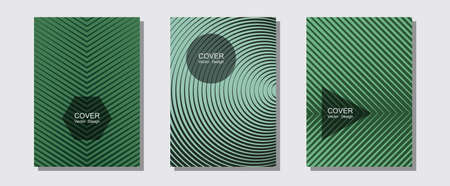Geometric design templates for banners, covers. Stylish print pages. Halftone lines music poster background. Minimal booklets. Halftone brochure lines geometric design set.