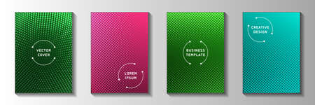 Minimal point faded screen tone front page templates vector batch. Urban booklet perforated screen tone patterns. Vintage cartoon comics style title page leaflets. Round pixels.