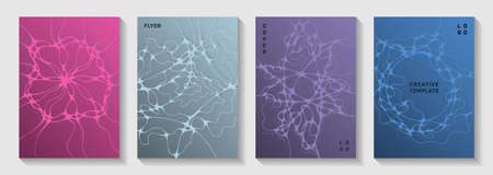 Scientific vector covers with molecular structure or nervous system cells. Crossed curve lines grid backdrops. Abstract title page vector templates. Scientific biotechnology covers.