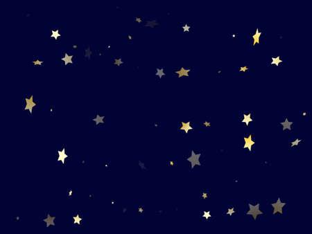 Gold gradient star dust sparkle vector background. Metallic gold star sparkles dust elements on dark blue night sky vector illustration. Party starburst lights card pattern.