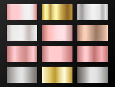 Cool golden, silver, bronze, pink gold gradients. Metallic foil texture silver, steel, chrome, platinum, copper, bronze, aluminum, pink gold gradient swatches.  Shiny metallic swatch templates.