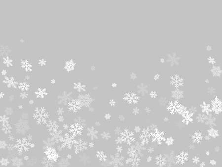 Winter snowflakes border minimal vector background.  Macro snowflakes flying border design, holiday card with many flakes confetti scatter frame, snow elements. Frosty cold season symbols. Ilustração