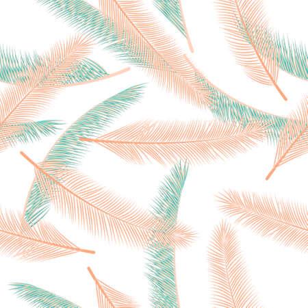 Organic palm tree foliage vector pattern. Elegant fashion print. Exotic rainforest palm tree foliage fashion print ornament.