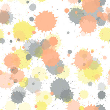 Watercolor paint transparent stains vector seamless wallpaper pattern. Rusty ink splatter, spray blots, dirty spot elements seamless. Watercolor paint splashes pattern, smear fluid splats.