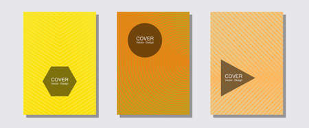Geometric design templates for banners, covers. Liner faded gradation. Halftone lines music poster background. Futuristic style. Halftone brochure lines geometric design set.