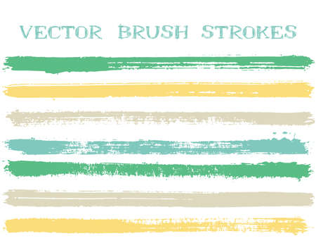 Mottled ink brush strokes isolated design elements. Set of paint lines. Abstract Ink brushe stripes isolated on white, vector color palette samples.