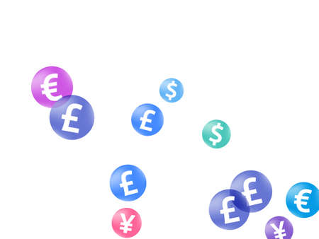 Euro dollar pound yen circle symbols flying currency vector design. Payment pattern. Currency symbols british, japanese, european, american money exchange elements background.