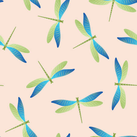Dragonfly ornamental seamless pattern. Summer clothes textile print with flying adder insects. Graphic water dragonfly vector wallpaper. Nature organisms seamless. Damselfly silhouettes.