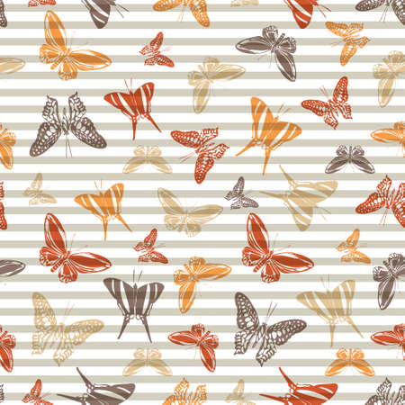 Flying multicolor butterfly silhouettes over striped background vector seamless pattern. Baby clothing textile print design. Lines and butterfly winged insect silhouettes seamless pattern. Illustration