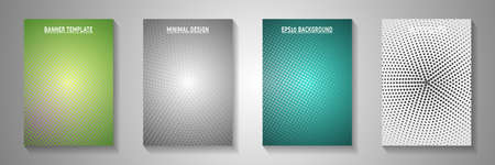 Simple dot screen tone gradation title page templates vector series. Digital banner faded screen tone backgrounds. Vintage comics style front page layouts. Matrix elements.  イラスト・ベクター素材