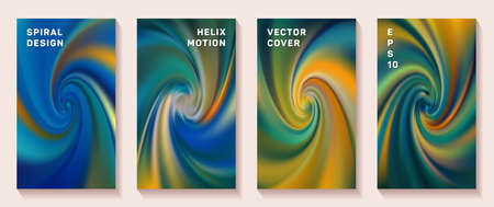 Gradient helix torsion spin cover page templates vector set. Abstract brochure front pages collection. Poster backgrounds with fluid colors twist rotation patterns. Vortex spin tech booklet covers.