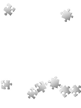 Business riddle jigsaw puzzle metallic silver parts vector illustration. Scatter of puzzle pieces isolated on white. Success abstract concept. Kids building kit pattern. Ilustracja